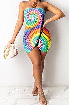 أزياء المرأة مثير عدم انتظام shirred التفاصيل العصابة الصدرية البسيطة اللباس GHH019