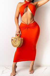 Fashion Sexy Pure Colo Chest Wrap Skirt Suit WY6784