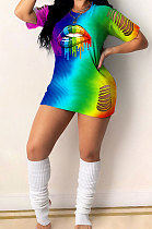 Fashion Sexy Hurnt Flower Rainbow Lip Print فستان قصير تغيير تدريجي GHH030