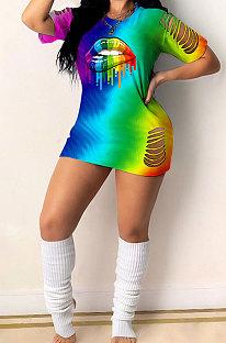 Fashion Sexy Hurnt Flower Rainbow Lip Print Gradual Change Mini Dress GHH030