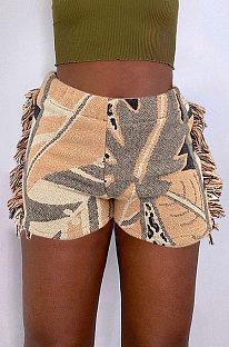 Повседневные модные шорты с кисточками и ярким рисунком MLM9064