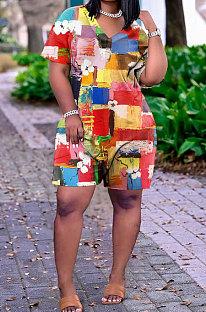 Модный повседневный комбинезон с коротким рукавом с принтом и шортами GHH021