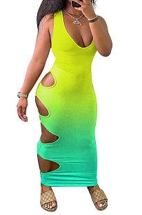 Женское сексуальное длинное платье с постепенным изменением и сращиванием с отверстиями GHH023