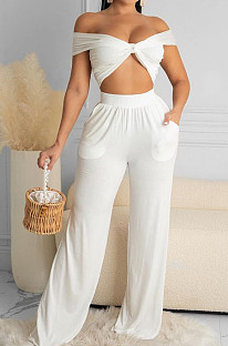 Euramerican Women Pure Color Chest Wrap Top Loose Pants Two-Piece X9297