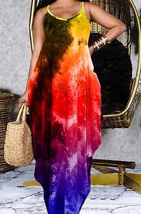 Свободное длинное платье с поясом соболезнования с принтом тай-дай GHH037