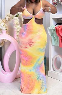 Модное повседневное платье с цифровым принтом Tie Dye D8447