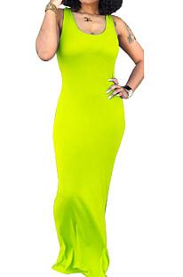Чистый цвет сексуальный жилет с U-образным вырезом повседневное длинное платье SY8810