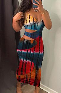 Euramerican Fashion Tie Dye Print Sling платье из хлопка LYY9304