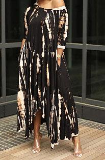 Свободное длинное платье с короткими рукавами и принтом тай-дай AD0407
