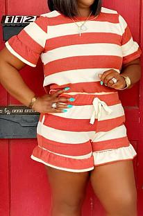 Euramerican Stripe Print Loose Agaric Edge Комплекты футболок с короткими рукавами HHM6519