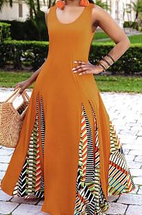 Модное простое платье с геометрическим принтом CM2119