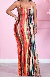 Сексуальное длинное платье с высокой талией и поясом соболезнования с открытой боковой вилкой HM5440
