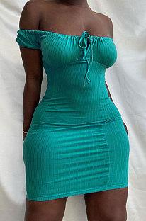 Мини-платье чистого цвета с запахом на груди и высокой талией Pit Bar HM5456