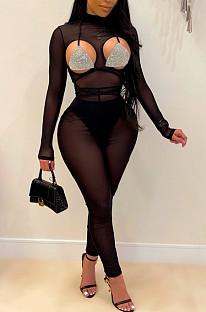 Модные женские облегающие комбинезоны из чистой пряжи QZ4343