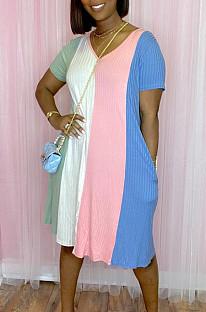 Летнее повседневное платье с двойным карманом и принтом в полоску JG045