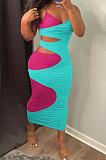 فستان طويل بحزام عزى مثير ومطابق للألوان ED8397