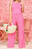 Stripe Knotted Strap Sleeveless Wide Leg Jumpsuits TL6568
