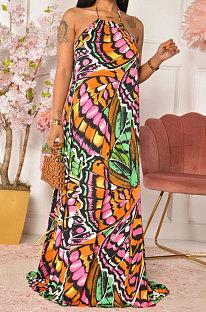 مثير عارضة الطباعة الرسن الرقبة بلا أكمام فستان طويل SDD9510