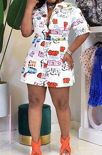 Lapel Neck Printing Blouse Plus Mini Dress  BNB025
