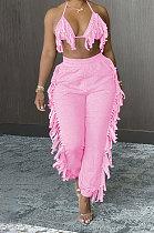 Sexy Backless Condole Belt Bra Top Pure Color Tassel Pants Sets MLM9065