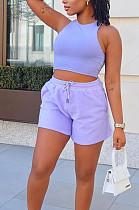 Fashion Casual Pure Color Vest Shorts Two-Piece ARM8288