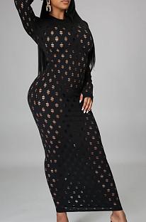 Fashion Stretch Jacquard Knitting Long Dress SMR10090