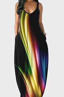 Euramerican Summer Fashion فستان فضفاض برقبة على شكل حرف V بحزام SMR10158