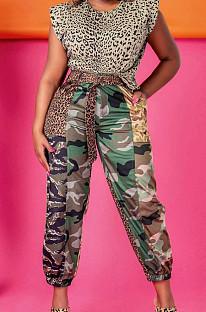 أزياء عارضة التمويه ليوبارد الحبوب البضائع السراويل مع حزام LS6435