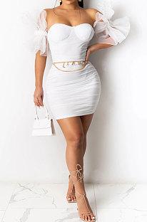 فستان قصير مثير بأكمام غير منتظمة R6430