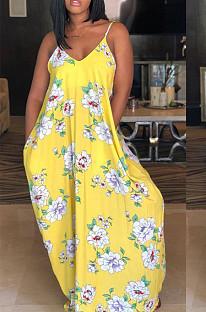 Fshion فستان بحمالات طباعة رقمية غير منتظمة LS6167