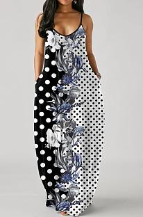 فستان فضفاض من Euramerican Fashion برقبة على شكل V وحمالات SMR10233