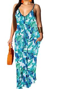 Fashion Summer فضفاض الخامس الرقبة فستان لينغ SMR10121
