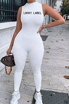 Spring Summer Sleeveless Pure Color Embroidered Tight Yoga Suits Bodycon Jumpsuits AMM8340