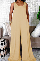 Euramerican Casual Pure Color Vest Loose Pant Jumpsuits TRS1153