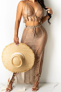 Sexy Small Tassel Boob Tube Top Knit Beach Skirts Sets TRS1151