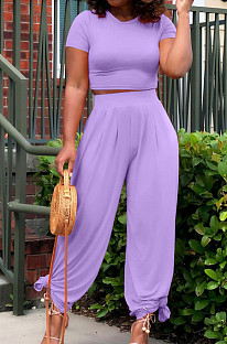 Euramerican Pure Color Dew Waist Flare Pants Casual Sets BLX8214