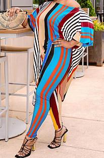 Fashion Stripe Print Irregular T-Shrit Two-Piece TRS1156