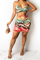 Printing Halter Neck Backless Chest Wrap Shirred Detail Package Buttocks Sexy Skirts Sets DY6979