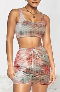 Fashion Women Tie Dye Yoge Sports Vest Shorts Two-Piece TRS1145