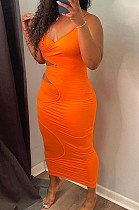 Fashion Sexy Pure Color Sling Tight Dress H1639