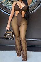 Trendy Double Net Yarn Condole Belt Tight Wide Leg Jumpsuits CY1333