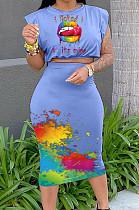 Summer Sleeveless Shoulder Pads T-Shirt One-Step Shirt Print Sets MOM8090