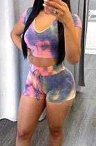 Summer Fashion Tie Dye Print Round Neck Short Sleeve Shorts Sets JG047