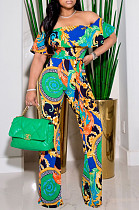 Sexy Print Boat Neck Wide Leg Jumpsuits A8605