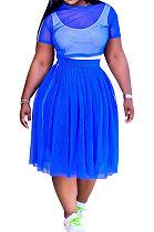 Women Sport Vest Jumpsuit Net Yarn Skirts Three Pieces Q864