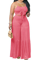 Sexy Condole Belt Ruffle Loose Pants Pure Color Two-Pieces Q858