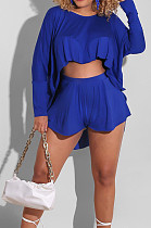 Sexy Fashion Summer Midriff Shorts Long Sleeve Two-Piece BS1270
