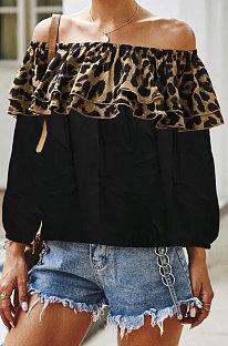 بلوزة Leopard Spliced Flounce تباين الألوان Q5008
