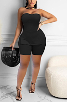 Sexy Pure Color Casual Slit Chest Wrap Shorts  Sets  HAA9079