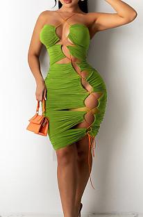 Euramerican Sexy Wrawsting Bind Hang A Neck Backless Dress MN8356